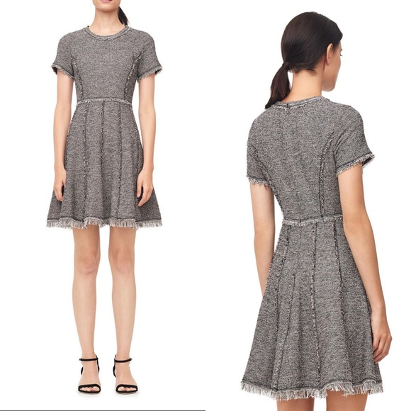 0842f91cbd3e Rebecca Taylor Dresses | Tweed Dress Short Sleeve Frayed Hem | Poshmark